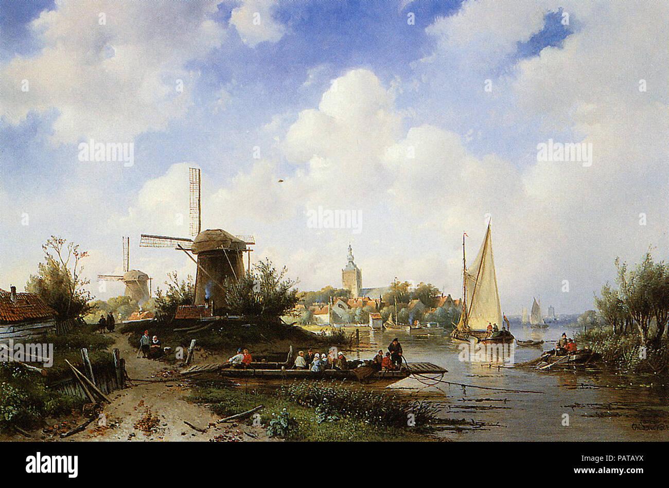 Leickert  Charles Henri Joseph - River Scene - Stock Image