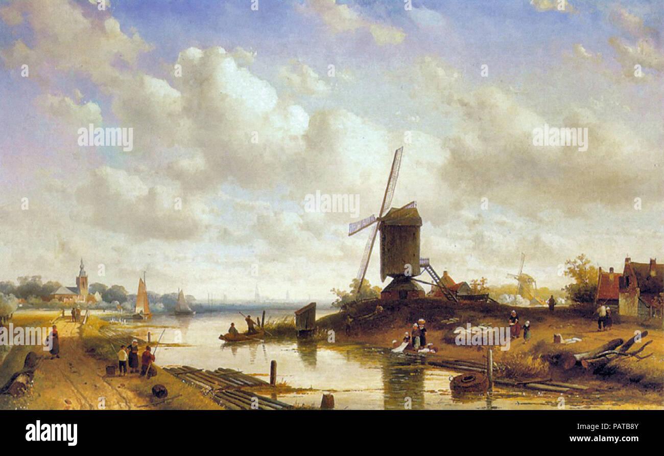 Leickert  Charles Henri Joseph - Summer Landscape - Stock Image
