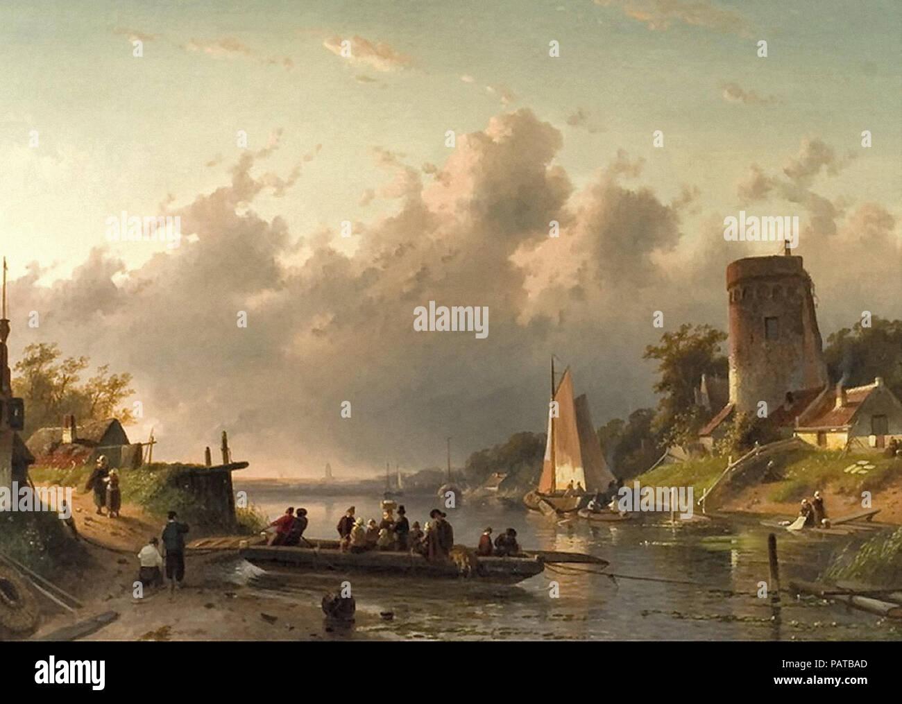 Leickert  Charles Henri Joseph - the Ferry 3 - Stock Image