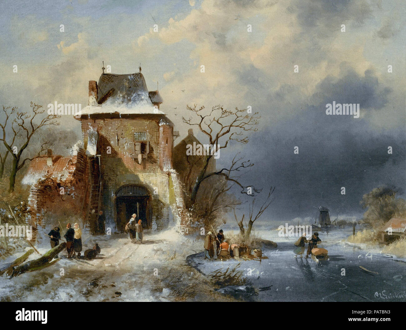 Leickert  Charles Henri Joseph - Winter Scene with Figures - Stock Image
