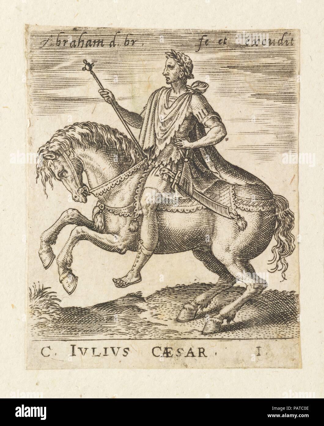 C. Julius Caesar from Twelve Caesars on Horseback. Artist: Abraham de Bruyn (Flemish, Antwerp 1540-1587 Cologne (?)). Dimensions: Sheet: 2 5/16 × 1 13/16 in. (5.8 × 4.6 cm). Date: ca. 1565-1587. Museum: Metropolitan Museum of Art, New York, USA. Stock Photo