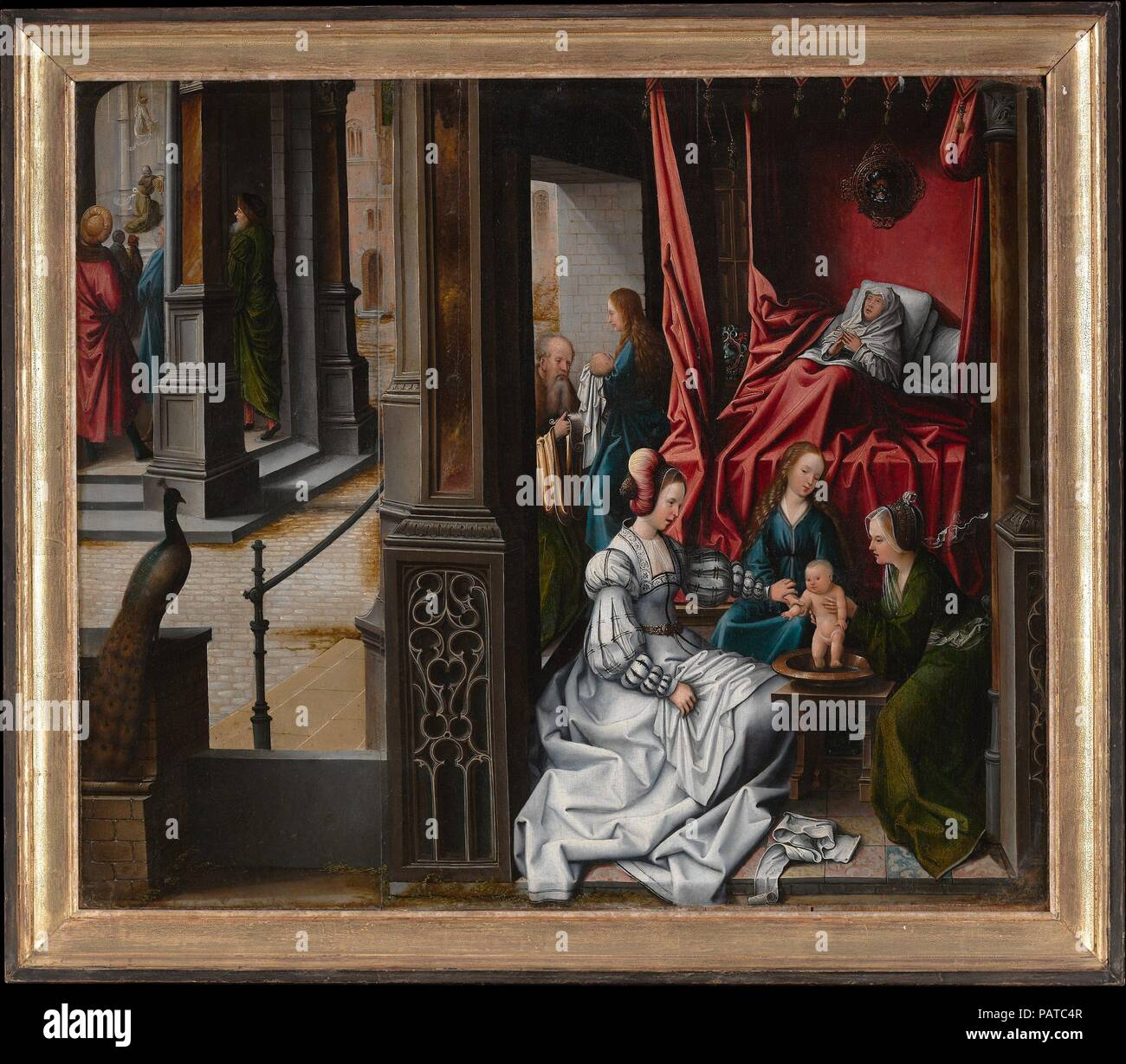 The Birth and Naming of Saint John the Baptist; (reverse) Trompe-l'oeil with Painting of The Man of Sorrows. Artist: Bernard van Orley (Netherlandish, Brussels ca. 1492-1541/42 Brussels). Dimensions: 25 x 30 in. (63.5 x 76.2 cm). Date: ca. 1514-15.  This panel once formed the left wing of an altarpiece dedicated to Saint John the Baptist that was commissioned by abbot Jacques Coëne for the Benedictine Abbey Church in Marchiennes, near Tournai. It depicts Saint Elizabeth in bed, shortly after giving birth to the newborn saint. Zacharias appears at the entrance to her room, carrying a scroll whi Stock Photo