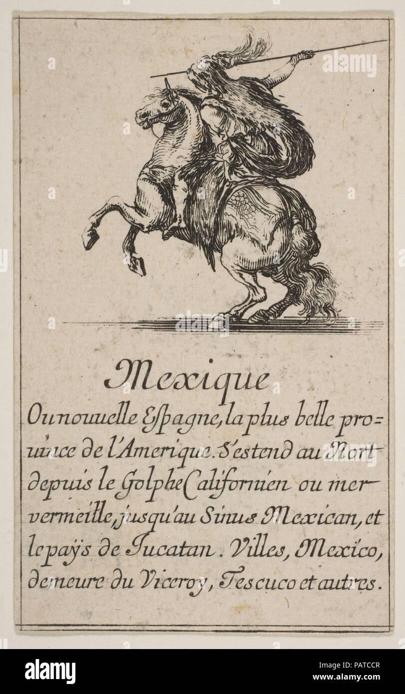 Mexico, from 'Game of Geography' (Jeu de la Géographie). Artist: Etched by Stefano della Bella (Italian, Florence 1610-1664 Florence); Designed by Jean Desmarets de Saint-Sorlin (French, 1595-1676). Dedicatee: Louis XIV, King of France (French, Saint-Germain-en-Laye 1638-1715 Versailles). Dimensions: Sheet: 3 1/2 × 2 3/16 in. (8.9 × 5.5 cm). Patron: Cardinal Jules Mazarin (Italian, Piscina 1602-1661 Vincennes). Publisher: Henri Le Gras (French). Series/Portfolio: 'Game of Geography' (Jeu de la Géographie). Date: 1644. Museum: Metropolitan Museum of Art, New York, USA. Stock Photo