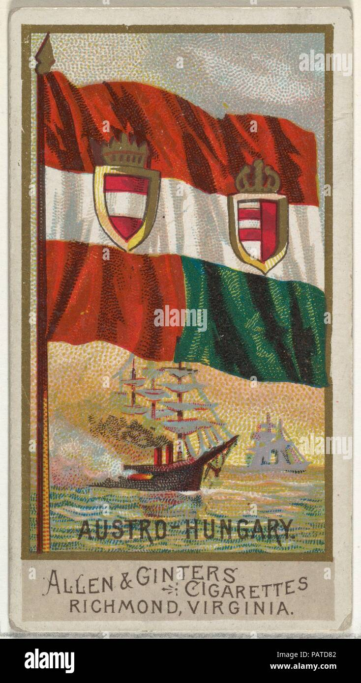 Austro-Hungary, from Flags of All Nations, Series 2 (N10) for Allen & Ginter Cigarettes Brands. Dimensions: Sheet: 2 3/4 x 1 1/2 in. (7 x 3.8 cm). Publisher: Issued by Allen & Ginter (American, Richmond, Virginia). Date: 1890.  Trade cards from the set, 'Flags of All Nations,' Series 2 (N10), issued in 1890 in a series of 50 cards to promote Allen & Ginter Brand Cigarettes. Museum: Metropolitan Museum of Art, New York, USA. - Stock Image