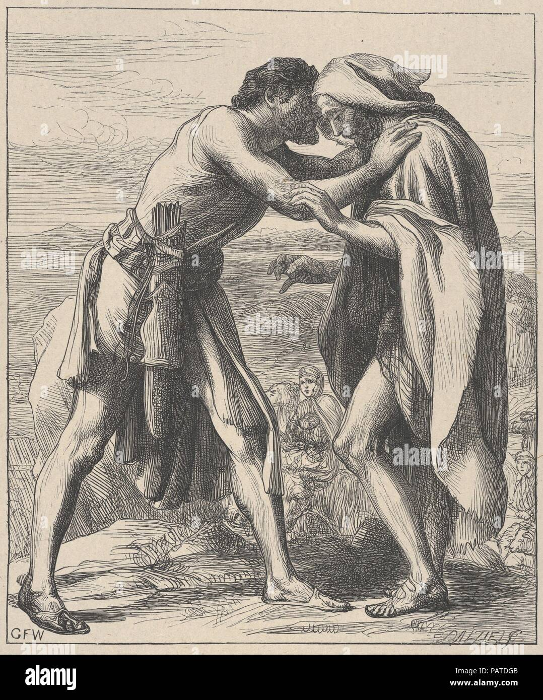 Esau Meeting Jacob (Dalziels' Bible Gallery). Artist: After George Frederic Watts (British, London 1817-1904 London). Dimensions: Image: 7 5/16 × 6 1/8 in. (18.5 × 15.6 cm)  India sheet: 9 1/2 × 8 1/16 in. (24.1 × 20.5 cm)  Mount: 16 7/16 in. × 12 15/16 in. (41.8 × 32.8 cm). Engraver: Dalziel Brothers (British, active 1839-1893). Printer: Camden Press (British, London). Publisher: Scribner and Welford (New York, NY). Date: 1881. Museum: Metropolitan Museum of Art, New York, USA. Stock Photo
