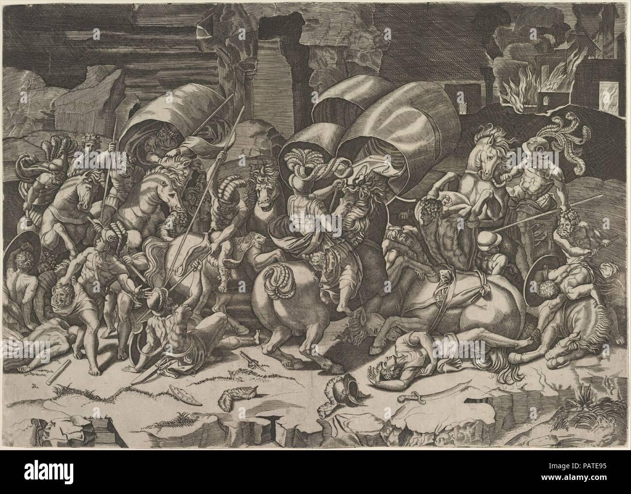 Battle with a Cutlass. Artist: Marco Dente (Italian, Ravenna, active ...