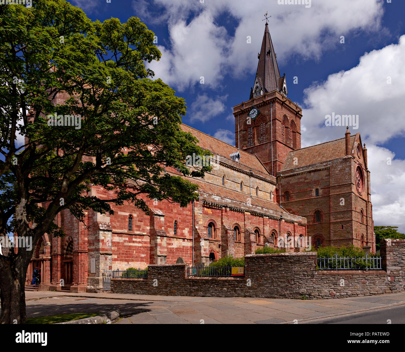 St Magnus cathedral, Kirkwall, Orkney, Scotland on a sunny day - Stock Image