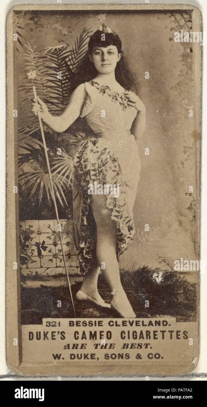 "Card Number 321, Bessie Cleveland, from the Actors and Actresses series (N145-5) issued by Duke Sons & Co. to promote Cameo Cigarettes. Dimensions: Sheet: 2 11/16 × 1 3/8 in. (6.8 × 3.5 cm). Publisher: Issued by W. Duke, Sons & Co. (New York and Durham, N.C.). Date: 1880s.  Trade cards from the set ""Actors and Actresses"" (N145-5), issued in the 1880s by W. Duke Sons & Co. to promote Cameo Cigarettes. There are eight subsets of the N145 series. Various subsets sport different card designs and also promote different tobacco brands represented by W. Duke Sons & Company. This card is from the fift Stock Photo"