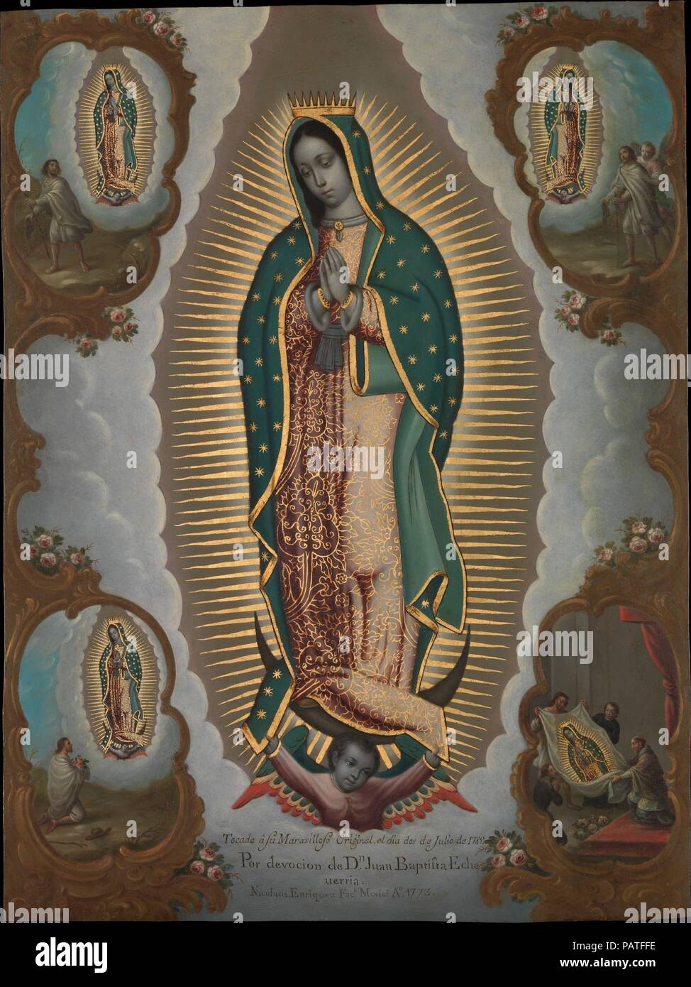 The Virgin of Guadalupe with the Four Apparitions. Artist: Nicolás Enríquez (Mexican, 1704-1790). Dimensions: 22 1/4 × 16 1/2 in. (56.5 × 41.9 cm)  Framed: 25 1/4 × 19 7/8 × 1 3/8 in. (64.1 × 50.5 × 3.5 cm). Date: 1773.  In 1773, when Nicolás Enríquez painted this copy of the Virgin of Guadalupe, it was the most widely venerated sacred image in New Spain. In this painting the miraculous image is encircled by four scenes that attest to its divine origin. They record the Virgin's three appearances to the Indian Juan Diego at Tepeyac, near Mexico City, and culminate in the revelation of her image Stock Photo