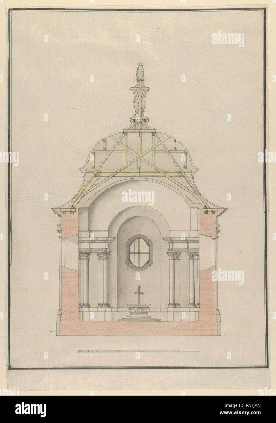 cross section of a baroque church or chapel with a bell shaped roof