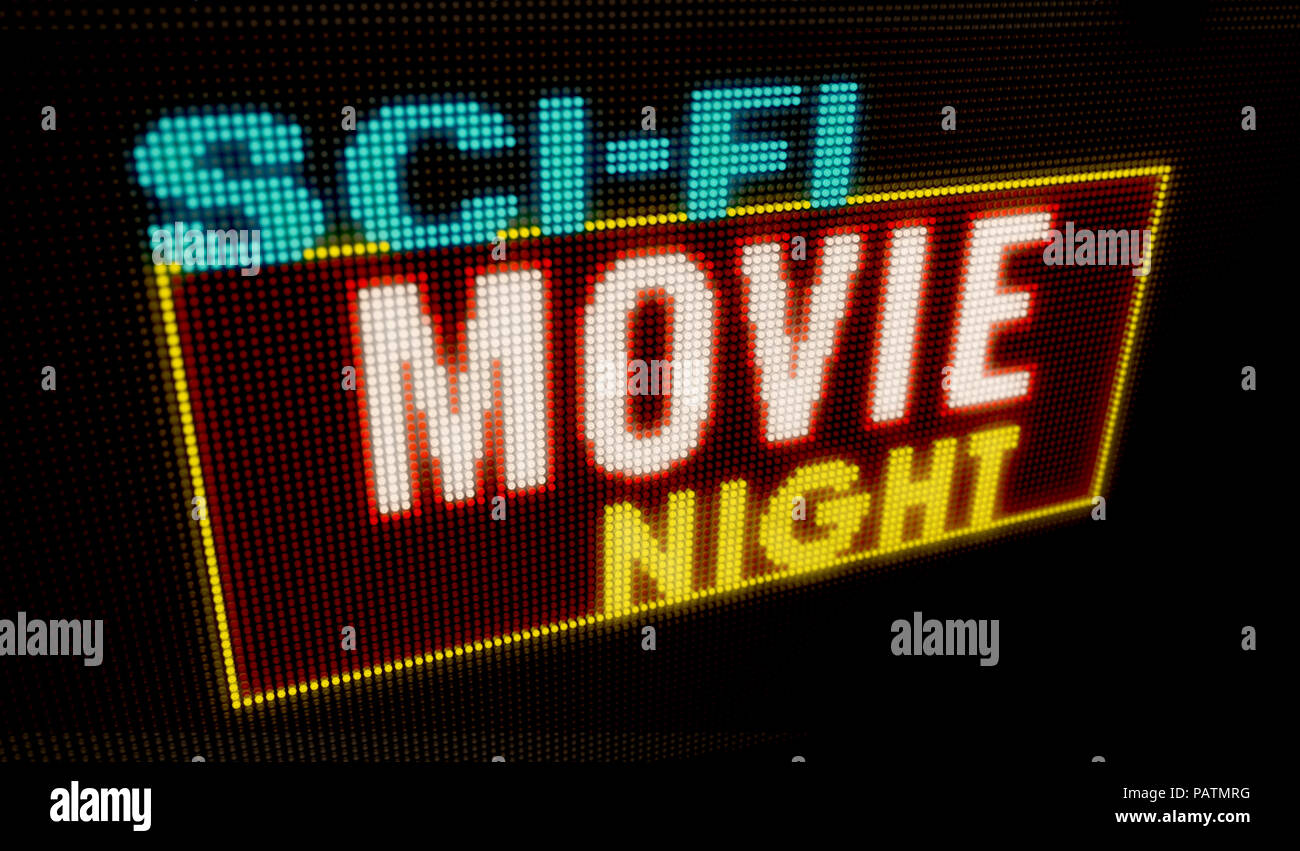 Sci-fi movie night retro intro illuminated letters on big neon display with large pixels. Bright light text on bulbs display. Entertainment event adve - Stock Image