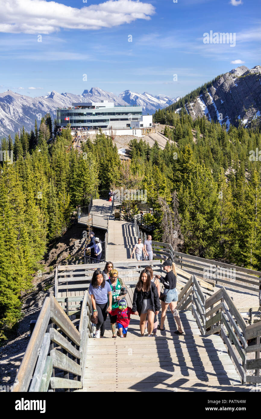 Tourists enjoying the views from the summit boardwalk on Sulphur Mountain in the Rocky Mountains, Banff, Alberta, Canada - Stock Image