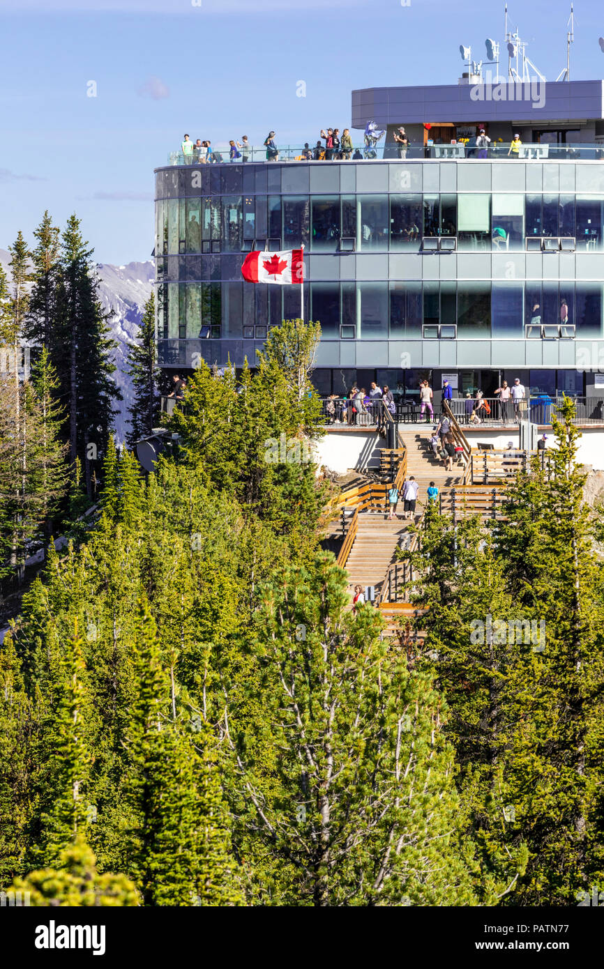 The summit building on Sulphur Mountain in the Rocky Mountains, Banff, Alberta, Canada - Stock Image