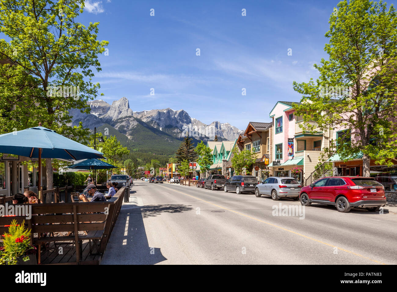 The town of Canmore on the western edge of the Rocky Mountains, Alberta, Canada - Stock Image