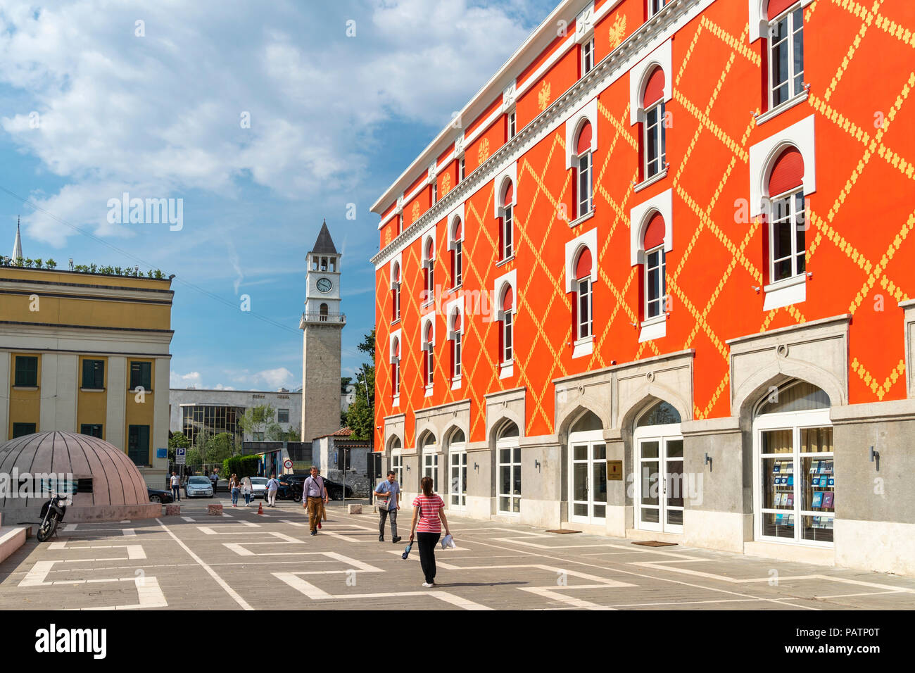 The freshly repainted Ministry of Agriculture on the edge of Skanderbeg Square in the centre of Tirana, Albania, - Stock Image