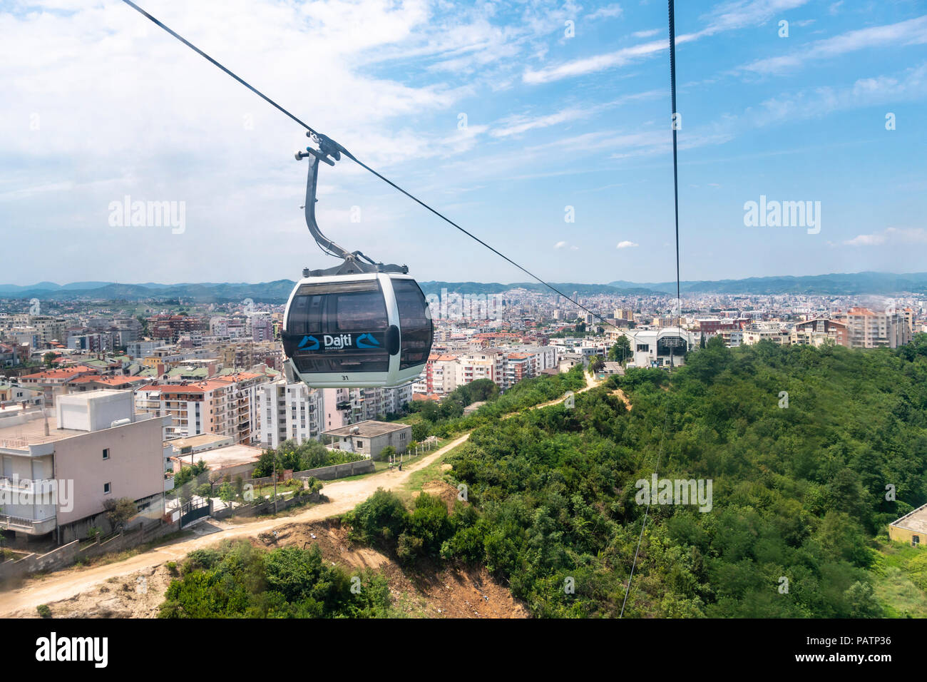 The Dajti Ekspres cableway which carries passengers up to Mount Dajti National Park on the edge of Tirana, Albania, - Stock Image