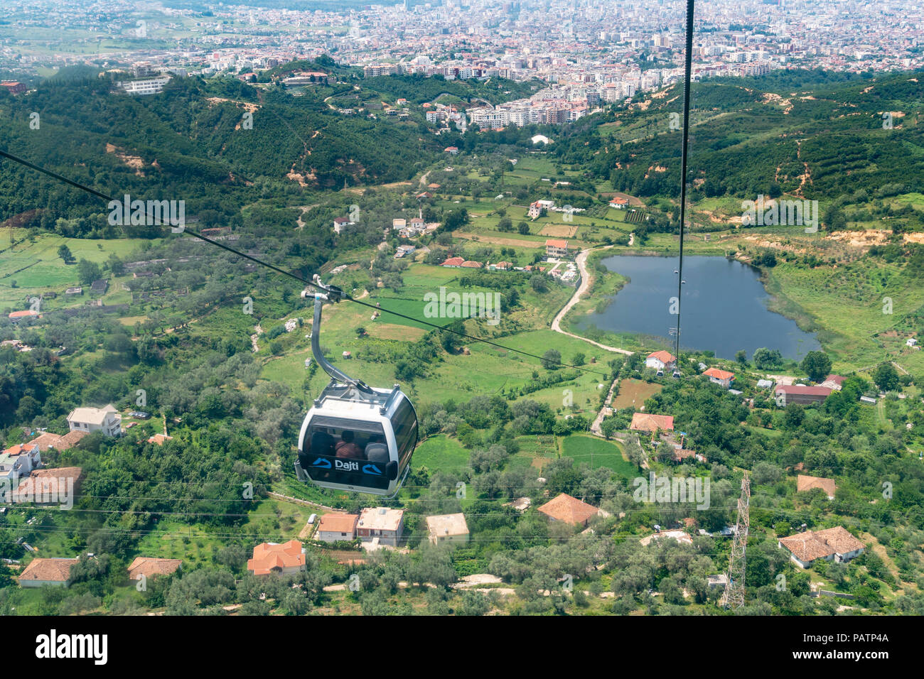 The Dajti Ekspres cableway which carries passengers up to Mount Dajti National Park on the edge of Tirana, Albania, Stock Photo