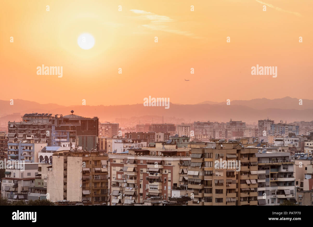 Sunset view across central Tirana looking North west, Tirana, Albania, - Stock Image