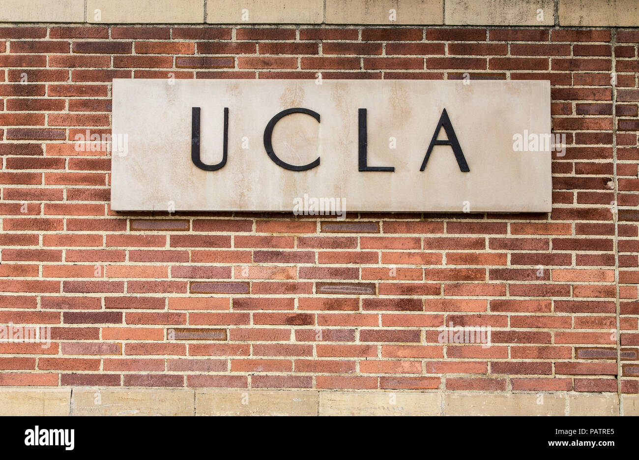 LOS ANGELES, CA/USA - MAY 25, 2015: Entrance sign to UCLA campus. - Stock Image