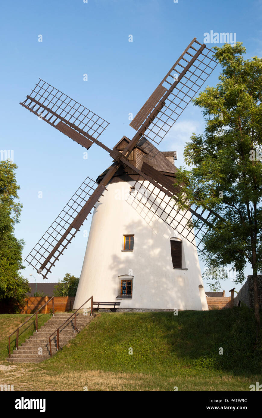 A traditional windmill at Podersdorf am See, Neusiedler See, Burgenland, Austria - Stock Image