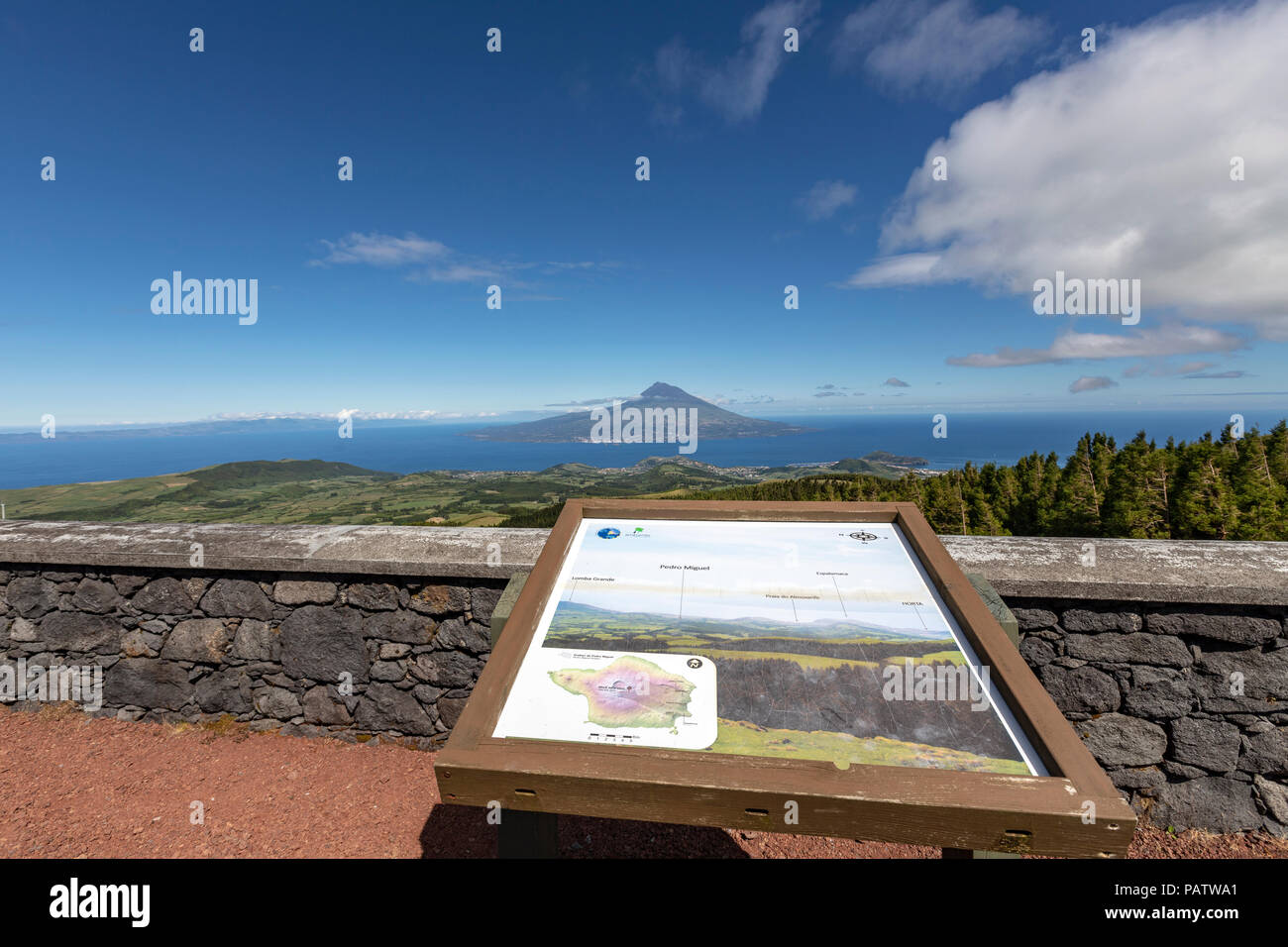 Mount Pico from a viewpoint in Faial island, Azores, Portugal - Stock Image