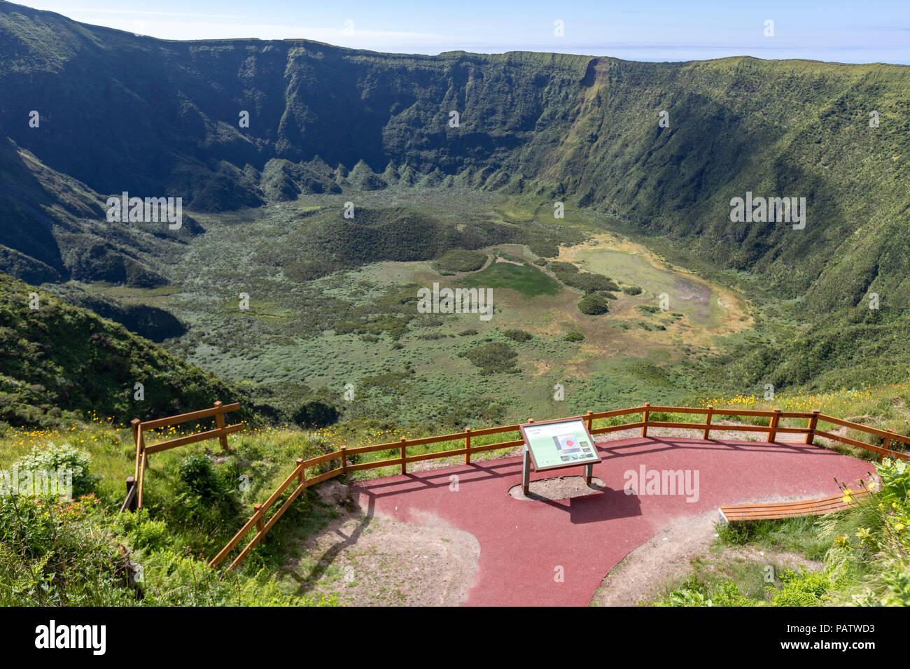 Viewpoint of the Caldeira do Cabeço Gordo, stratovolcano , in Faial island, Azores, Portugal - Stock Image