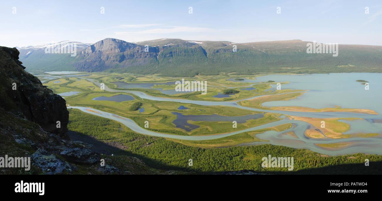 The Beauty of Northern Sweden  - Rapaätno Delta. Jokkmokk, Norrbotten, Sweden. Stock Photo