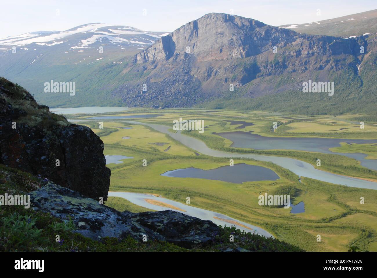 The Beauty of Northern Sweden  - Rapaätno delta. Sarek, Norrbotten, Sweden. Stock Photo