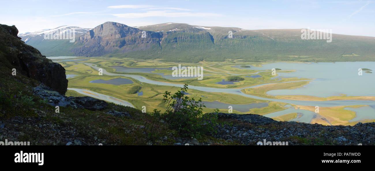The Beauty of Northern Sweden  - Rapaätno delta. Sarek National Park, Sweden. - Stock Image