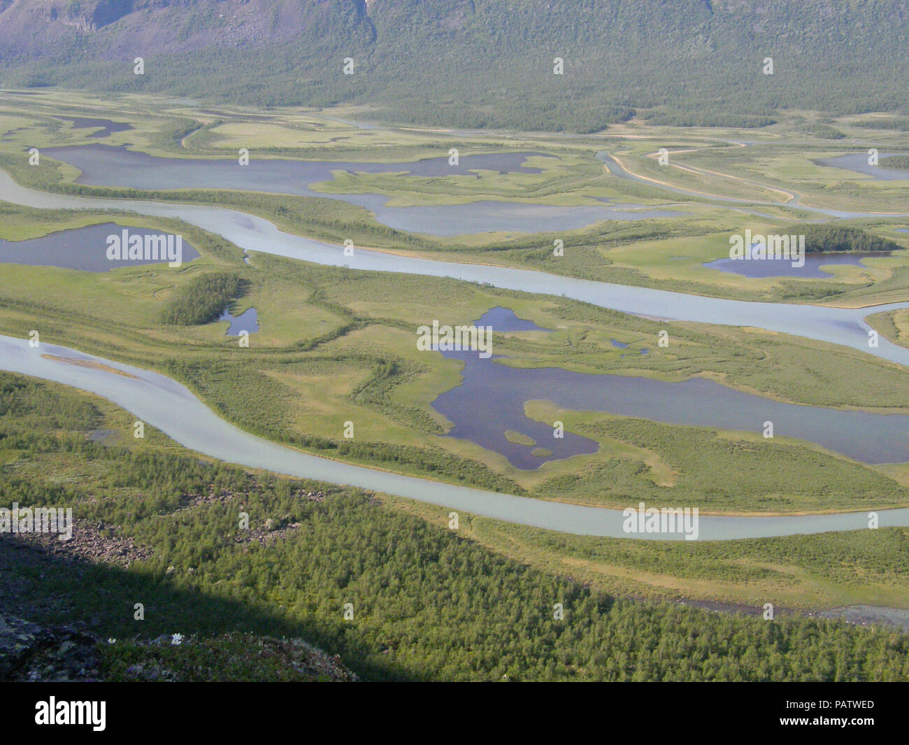 The Beauty of Northern Sweden  - Rapaätno delta. Rapaätno delta, Sarek, Northern Sweden. 30.6.2009. - Stock Image
