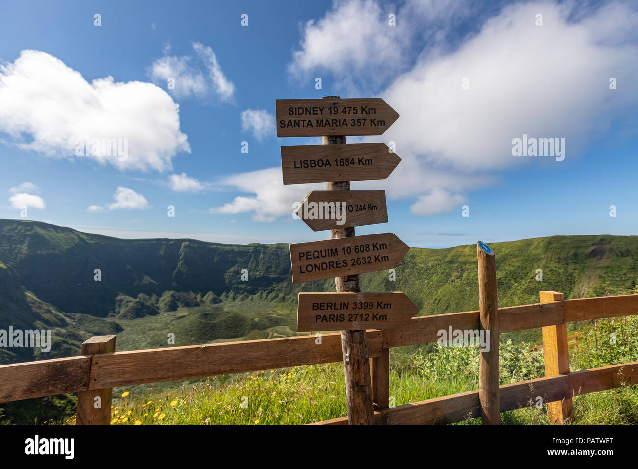 World cities distance sign in Caldeira do Cabeço Gordo, stratovolcano, in Faial island, Azores, Portugal - Stock Image