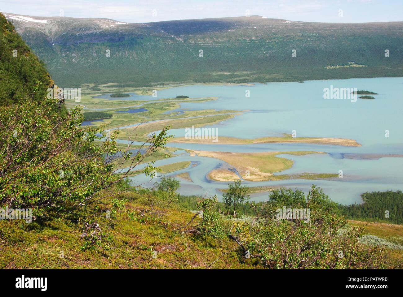 Rapaätno delta and Aktse. Jokkmokk, Norrbotten, Sweden. Stock Photo