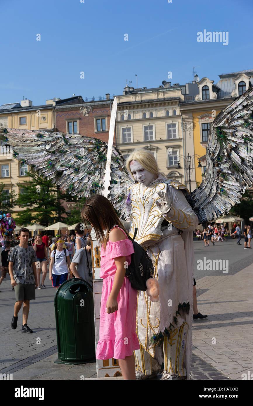 Street Entertainers, Krakow, Poland, Europe. - Stock Image
