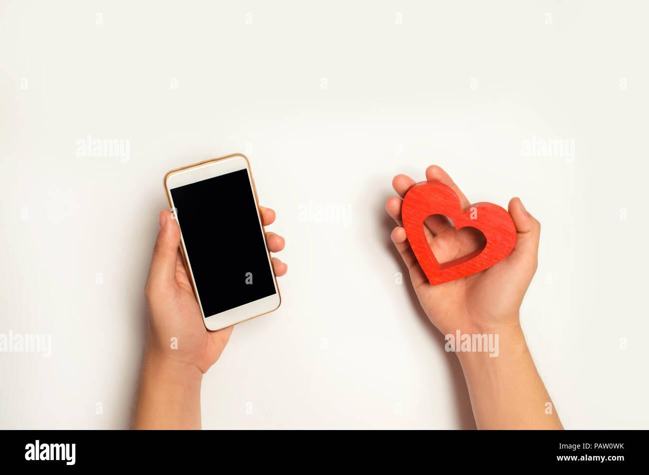 Digital Phone Red Heart Love Stock Photos Digital Phone Red Heart