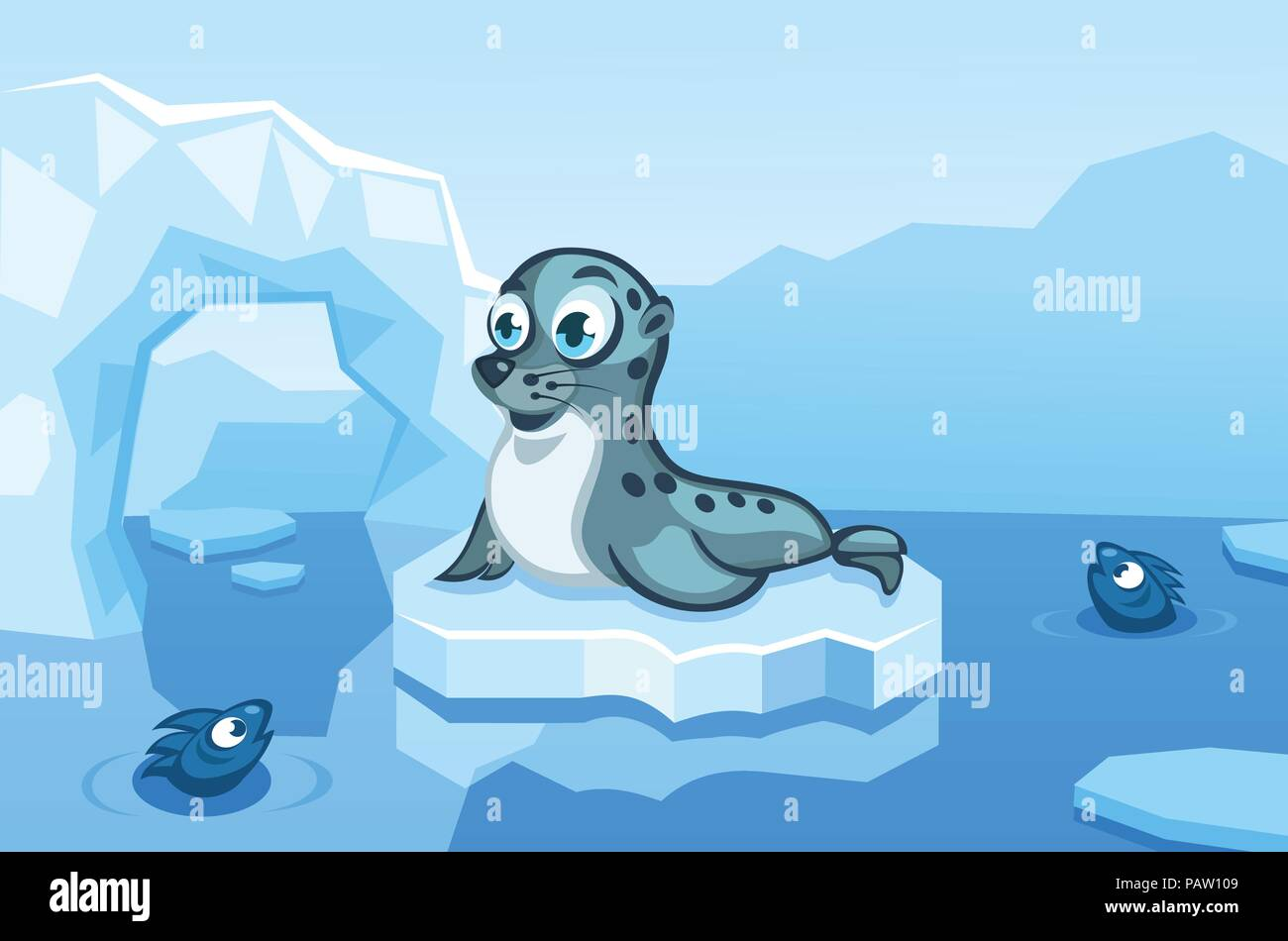 Illustration of a navy seal on an arctic vector background with ice floes, icebergs, water and fishes - Stock Vector