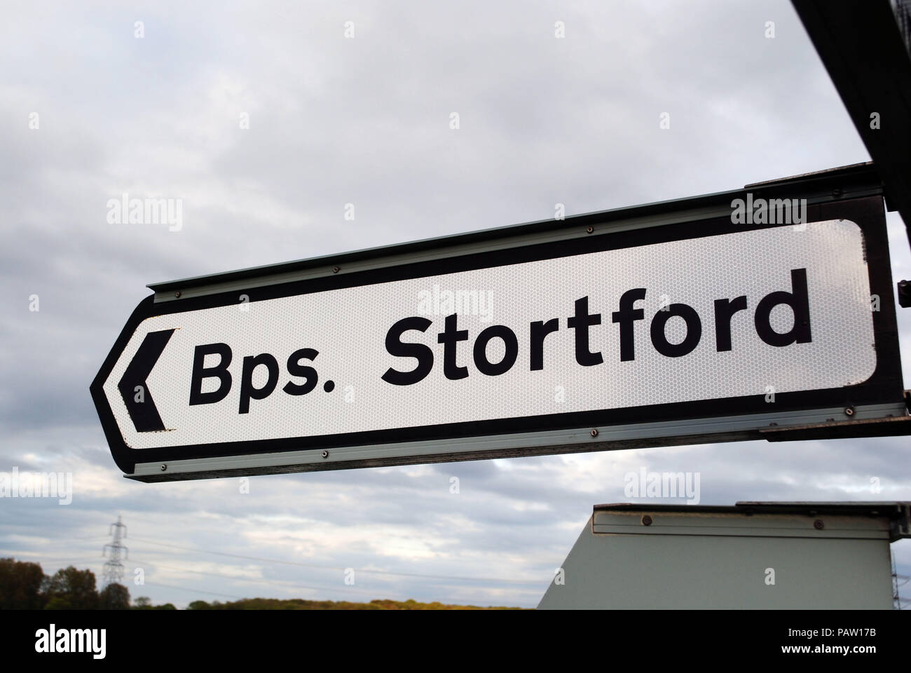 A traffic sign pointing to the right direction towards Bishop's Stortford in Hertfordshire. Stock Photo