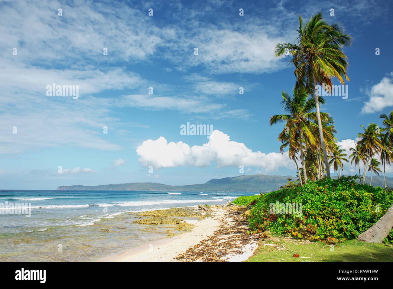 stunning picturesque scenic beautiful Caribbean landscape, Dominican Republic - Stock Image