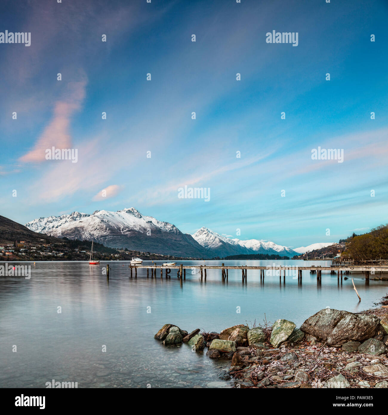 Lake Wakatipu Queenstown New Zealand - Stock Image