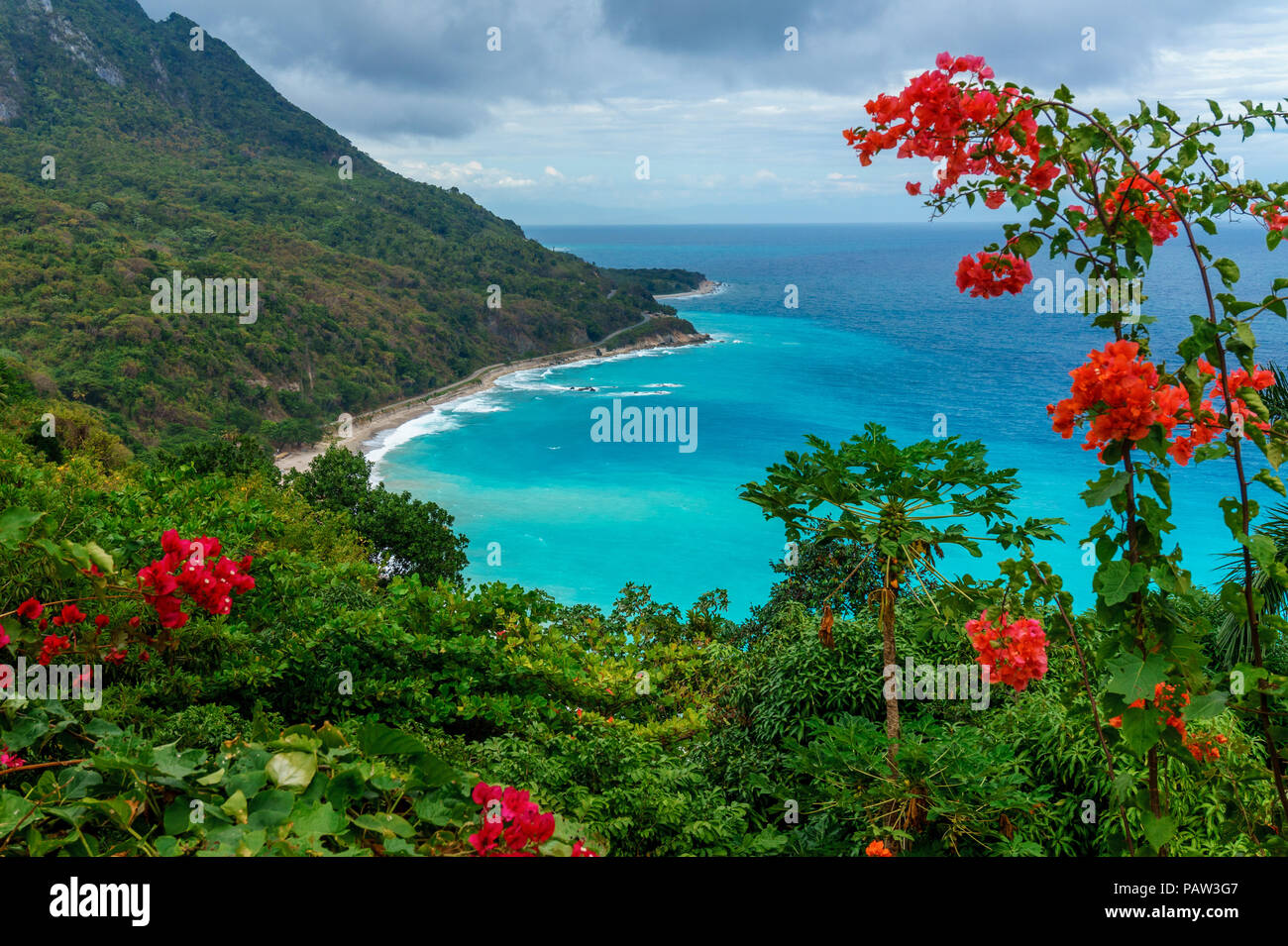 Amazing caribbean view from the green hill to azure sea. Travel concept. Dominican Republic - Stock Image