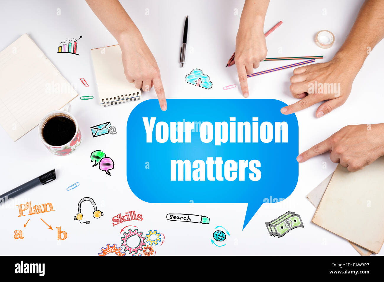 Your opinion matters. The meeting at the white office table - Stock Image