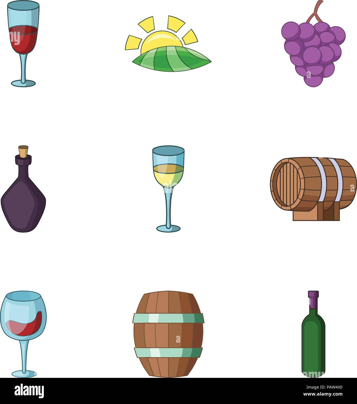 Cordial icons set, cartoon style - Stock Image