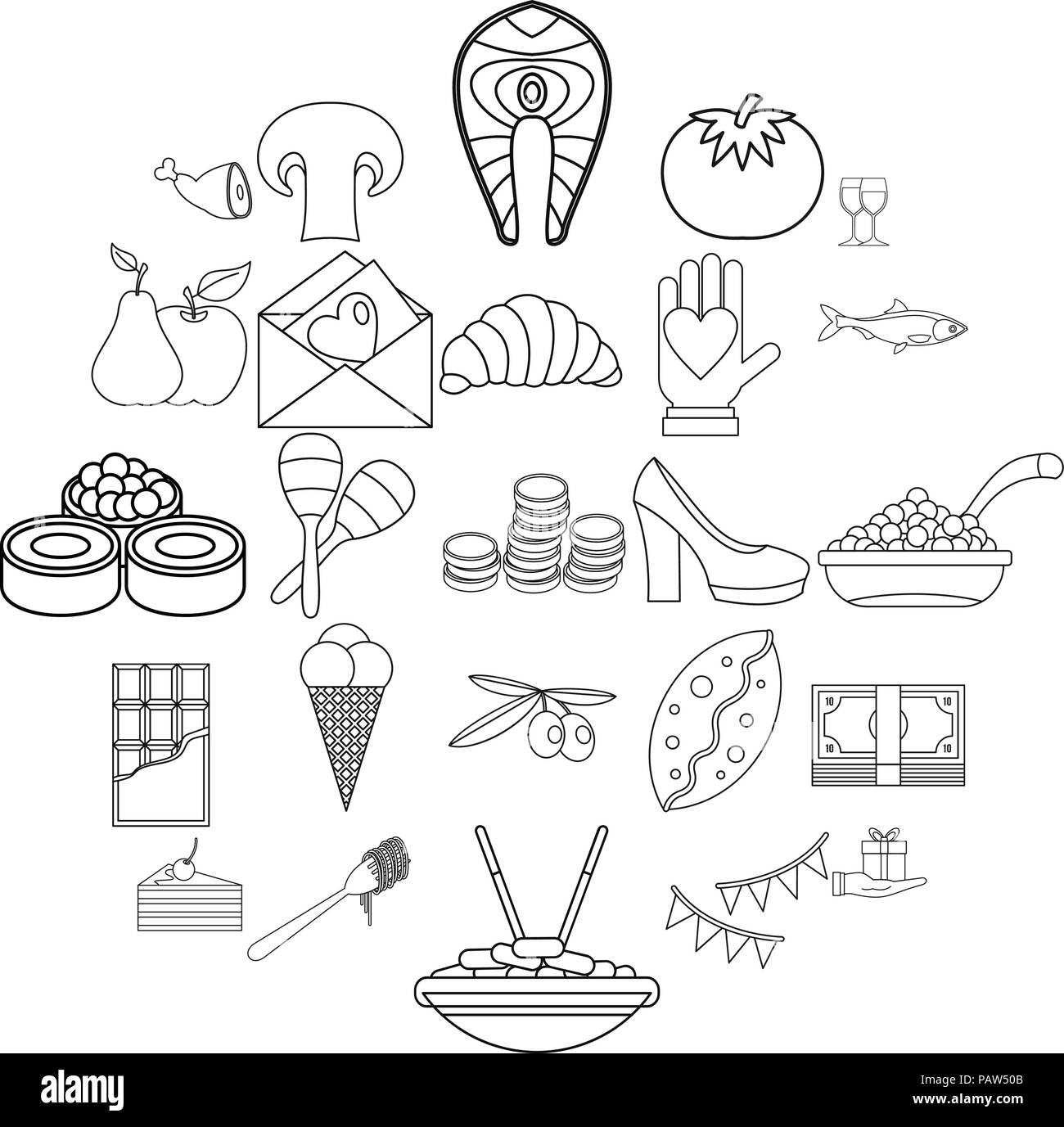 Wedding Reception Icons Set Outline Style Stock Vector Art