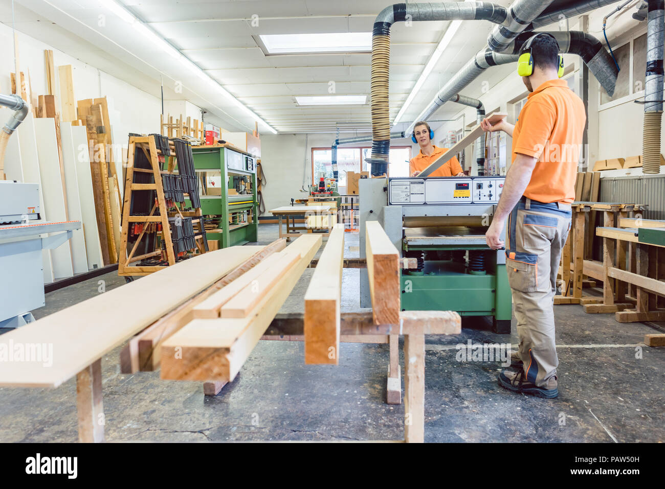 Lots of wood work to do for the carpenters - Stock Image