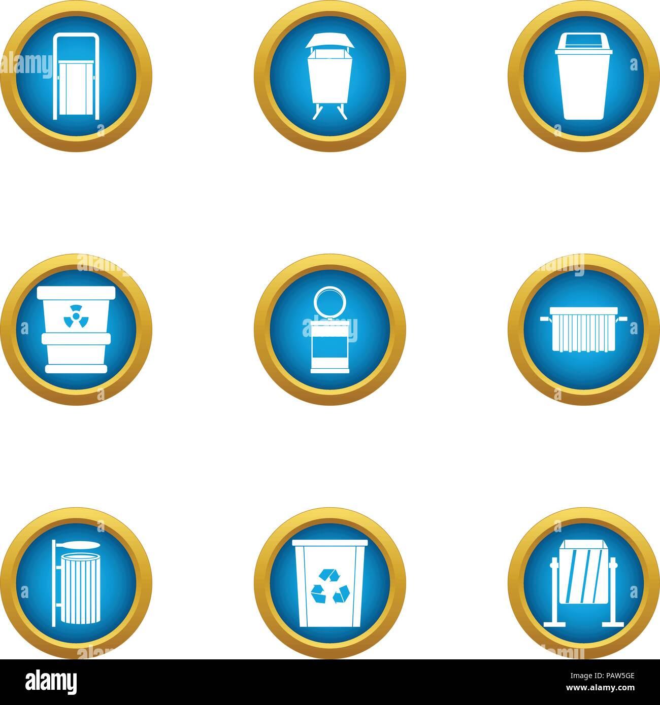 Elemental composition icons set, flat style - Stock Image