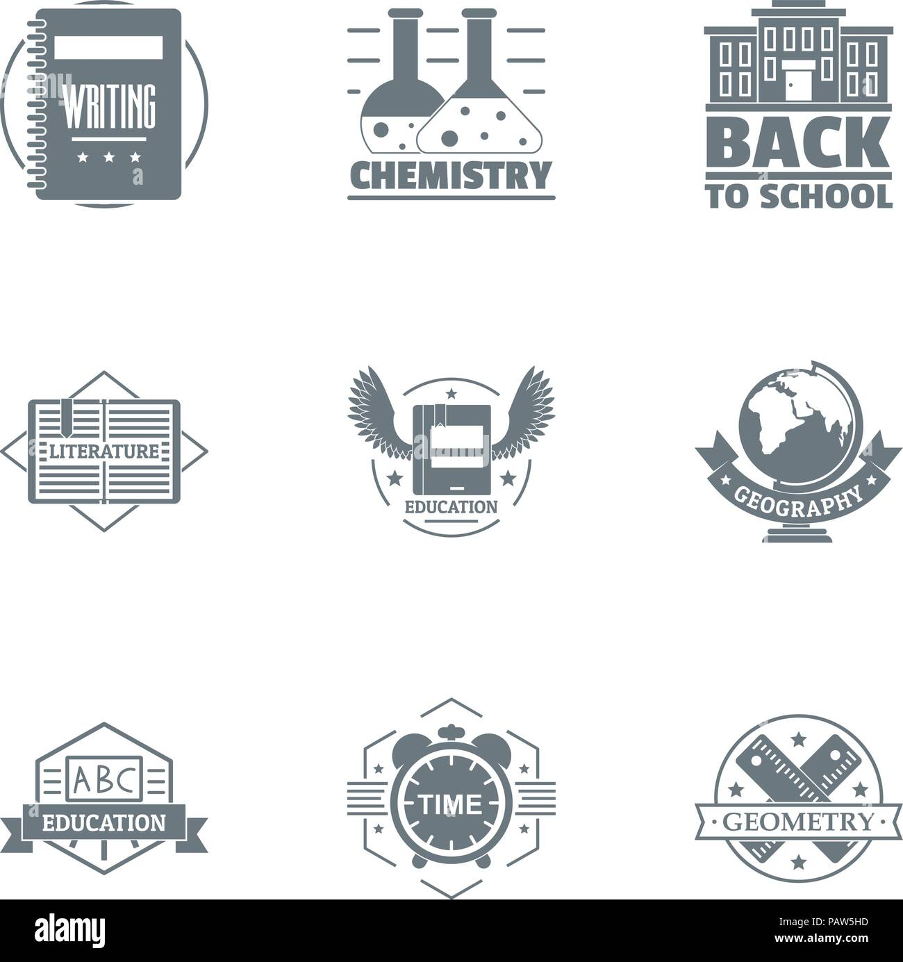 Chemical school logo set, simple style - Stock Image