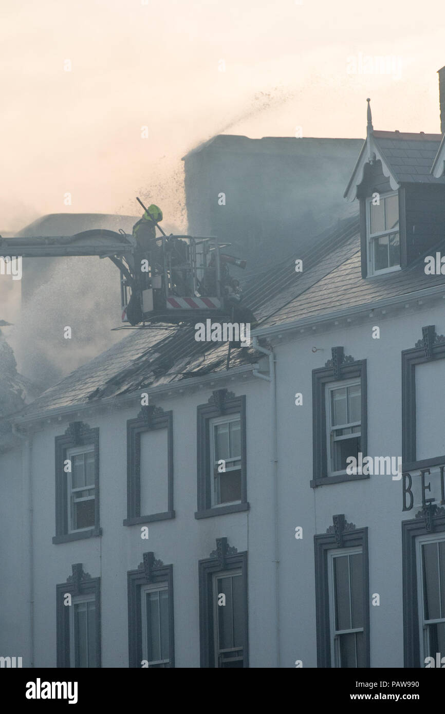Aberystwyth Wales UK, Wednesday 25 July 2018 A major fire