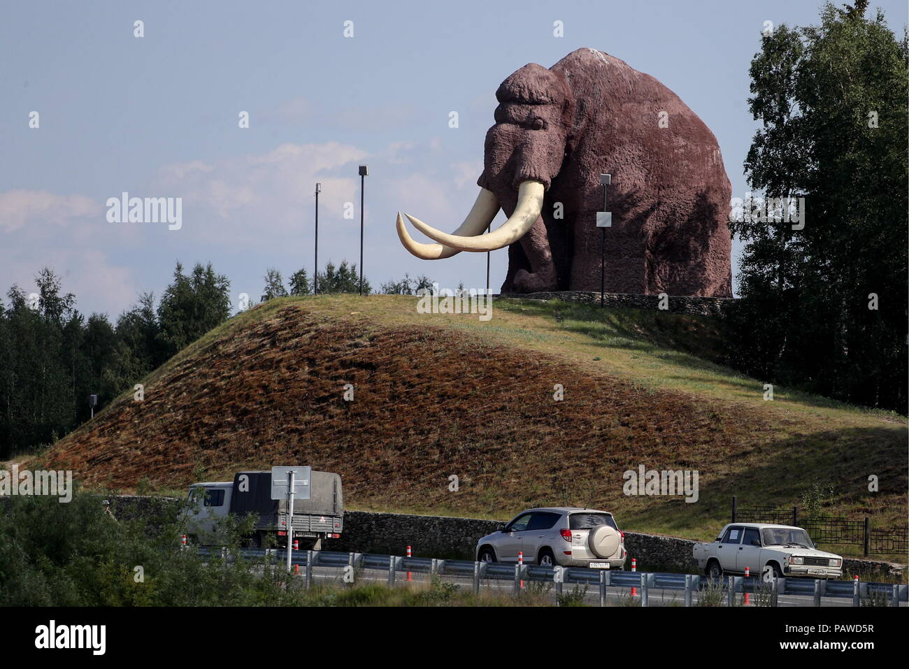 Russia 23rd July 2018 Salekhard Russia July 23 2018 A 10 Metre Woolly Mammoth Statue In