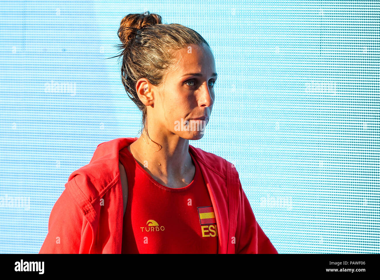 25th July 2018, Bernat Picornell Pools, Barcelona, Spain; 33rd European Water Polo Championships, Spain Women versus Greece Women; Clara Espar attack from Spain tearful after losing the match - Stock Image