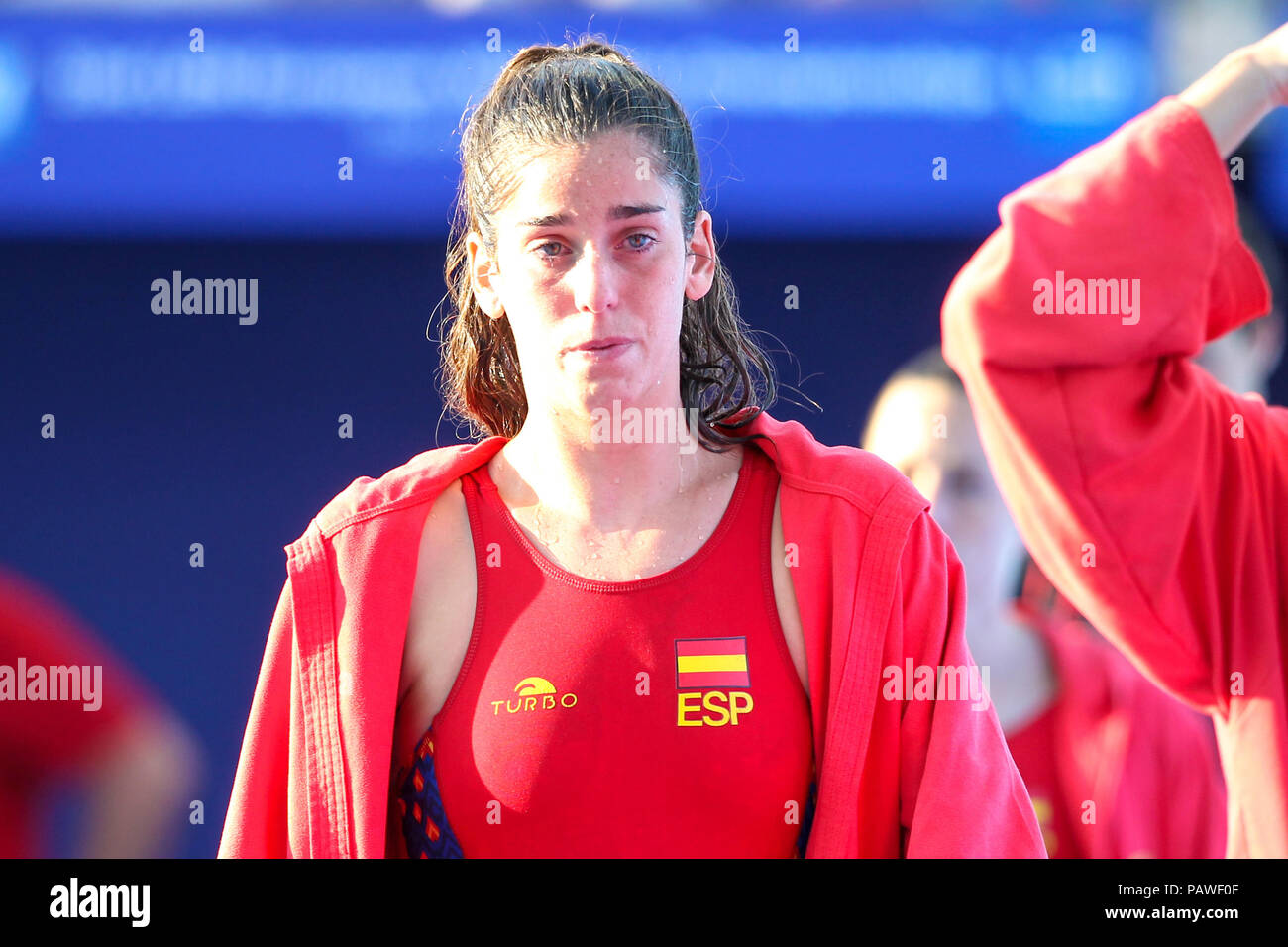 25th July 2018, Bernat Picornell Pools, Barcelona, Spain; 33rd European Water Polo Championships, Spain Women versus Greece Women; Maria Elena Sanchez goalkeeper from Spain tearful at the end of the match - Stock Image