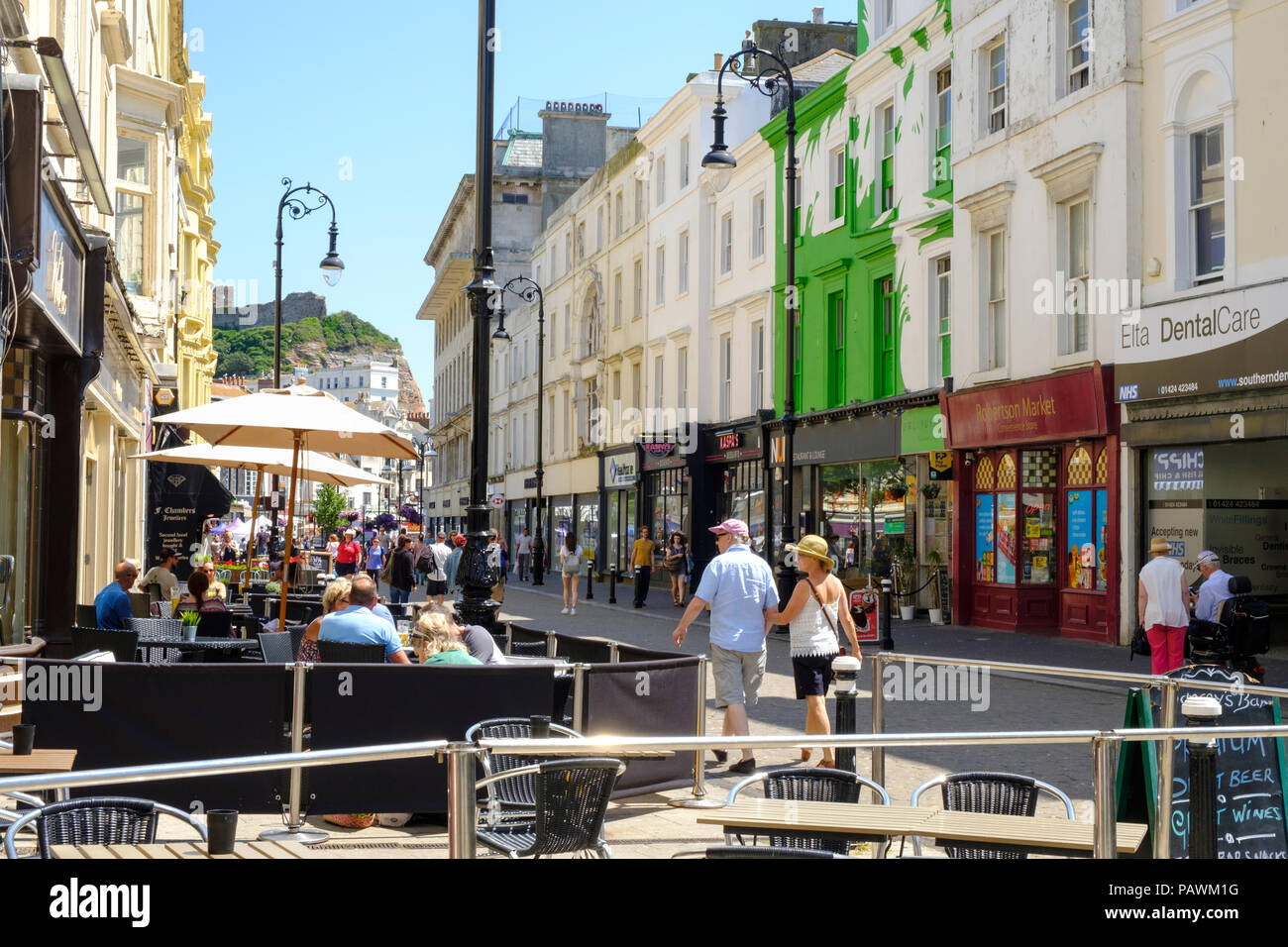 Cafes in Robertson Street, Hastings, East Sussex, UK - Stock Image